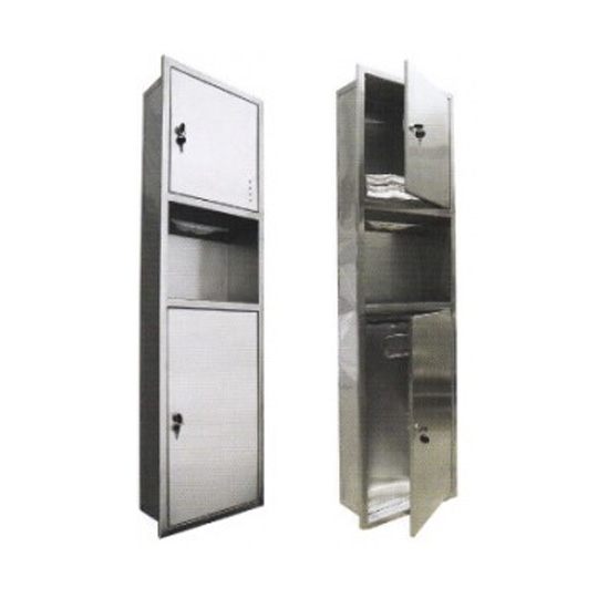 Stainless-Steel-2-in-1-Paper-Towel-Dispenser-&-Disposal-(Recessed)-PTD-193SS