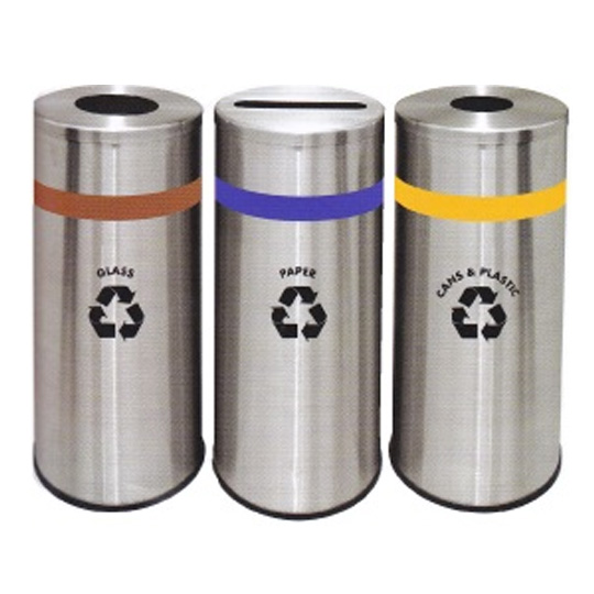 Stainless-Steel-Round-Recycle-Bin-130SS