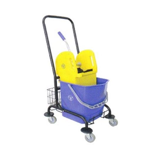 Single Wringer Bucket cw Trolley & Basket Down Press