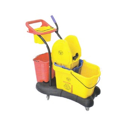 Single Wringer Bucket cw Trolley & tool Container & Extra Bucket Below Wringer