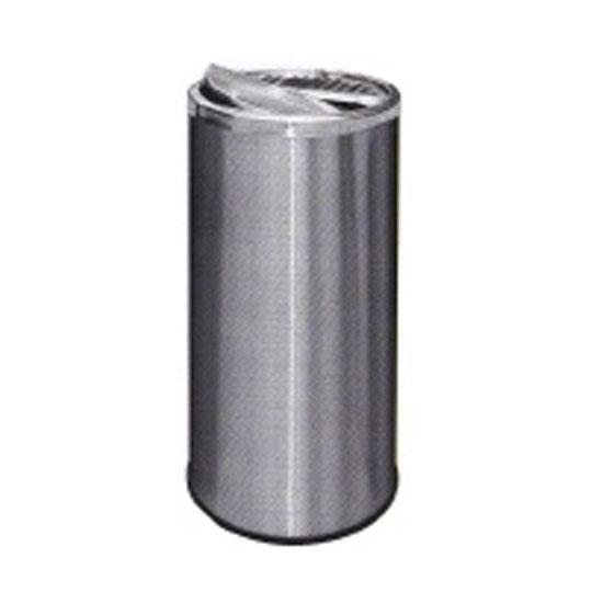 Stainless Steel Round Waste Bin Half Ashtray & Half Swing Top RAH118