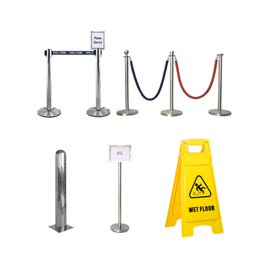 Stands, Bollards, Safety Equipments & Floor Signages